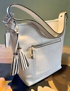 100 Auth Coach Legacy Leather Duffle Bag Handbag Convertable White / Nickel Nwt