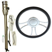 32 Auto Ss Steering Column And Adapter And 14 Chrome Wheel And Smooth Horn Button