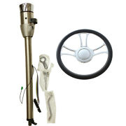28 Auto Stainless Steering Column Gm And 14 Chrome Steering Wheel And Horn Button