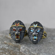 Real Solid 925 Sterling Silver Rings Agate Turquoise Monkey King Open Size 8-11