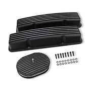 For Sbc Finned Short Valve Covers No Hole And 12x2 Oval Full Finned Air Cleaner