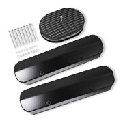For Sbc Pre '86 Tall Valve Covers Black And 12 X 2 Oval Full Finned Air Cleaner