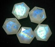 Natural White Rainbow Moonstone Hexagon Faceted Cut Loose Gemstone 16mm To 20mm