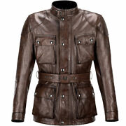 Belstaff Classic Tourist Trophy Black / Brown Motorcycle Leather Jacket