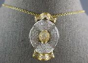 Estate Extra Large 1.86ct Diamond 14k 2 Tone Gold 3d Oval Crown Floating Pendant