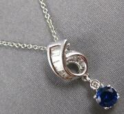 Estate 2.05ct Diamond And Aaa Sapphire 14kt White Gold Solitaire Floating Pendant