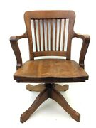 Antique Old Wood Iron P Derby Co Usa Industrial Office Swivel Chair Furniture
