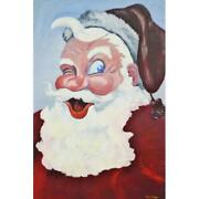 Large Vintage 1953 Signed Santa Claus Painting On Board 36 X 24