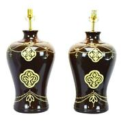 Large Scale Ginger Jar Style Jamie Young Company Ceramic Table Lamps - A Pair