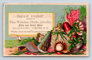 Antique Trade Card Mermaids Seashell Concord Nh Jewelry Store Watches Clocks