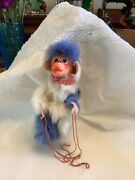 """Cute Vintage White Blue Fur Made In Japan Marionette Monkey String Puppet 7"""""""