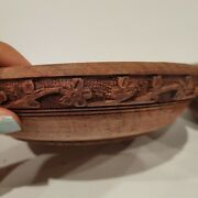 2 Antique Old Collectible Indian Hand Carved Wooden Bowls 7.5 Rusticity