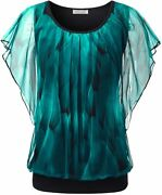 Baishenggt Womenand039s Printed Flouncing Flared Short Sleeve Mesh Blouse Top