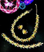 And03955 Crown Trifari Jeweled Embers Christmas Lights Necklace Bracelet Earring Set