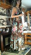 Olga Vtg 60and039s Hippie Boho Bold Floral Negligee Nightgown S 32 34 Brown Pink