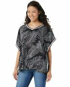 Cuddl Duds Womens Sun Cool Breeze Short-sleeve Top Large Black Paisley A346887