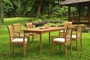 A-grade Teak 7pc Dining 71 Rectangle Table 6 Mas Stacking Arm Chair Set Outdoor