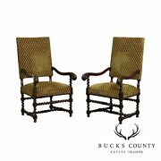 French Louis Xiii Style Antique Pair Oak Barley Twist Throne Armchairs