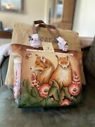 Anuschka Curious Foxes Hand Painted Leather Shoulder Tote Purse - Nwt