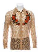 - Menand039s Us 38 It 48 Spring 2016 Lace Pattern Floral Dress Shirt