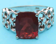 Ladies Genuine Rectangular Cushion Cut Chatham Ruby Solitaire Ring In14k Gold