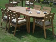 Vellore A-grade Teak Wood 7pc Dining 94 Oval Table 6 Stacking Arm Chair Set New