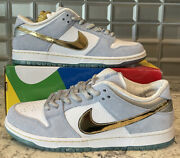 Nike Sb Dunk Low Sean Cliver Holiday Special White/blue/gold Dc9936-100 Size 12