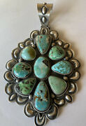 Signed Navajo Large Sterling Silver Carico Lake Turquoise Pendant