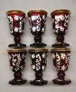 1920 -1930 Vintage Bohemian Glass Etched Hand Painted Wine Glasses