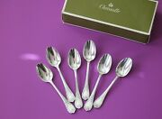 Set Of 6 Christofle Marly Silver-plated Espresso Demi-tasse Coffee Spoons 4 Fr