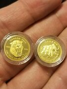 Lot Of 2 -1/10 Oz. Pure Gold Coin - Woolly Mammoth Saber Tooth 3k Mintage