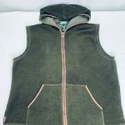 Fleece Full Zip Vest With Hood Size Large Green Leather Accents Vgc