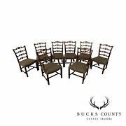 Chippendale Style Vintage Custom Quality Set 8 Ladder Back Dining Chairs