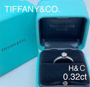 And Co. Diamond Ring 0.32ct H And C Platinum 950 No.5 W/case Rare F/s