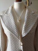Authentic 98p Jacket Ecru Cream Boucle Fr40 Uk12 Nwot Made In France