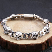 Menand039s Real Solid 925 Sterling Silver Bracelet Link Skull Braided Fashion 7.9