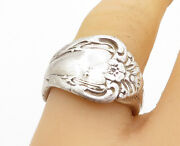 925 Sterling Silver - Vintage Floral Detail Spoon Wrap Band Ring Sz 7 - Rg5460