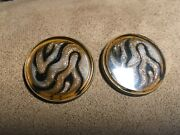 Antique Three Buttons Of Watch Case Glass Covered Shank Brass Back Large 1 1/4