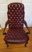 Vintage Tufted Cordovan Leather Queen Anne Style Chesterfield Library Arm Chair