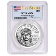 2021 1 Oz Platinum American Eagle Pcgs Ms 70 First Strike