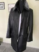 Nicole Miller Black Lambskin 3/4 Jacket Button Front Removable Collar Size M