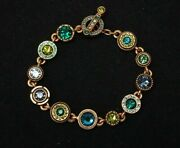 Patricia Locke 7 1/2 Bracelet Gold Plate Surf Pacific Crystals Nwot