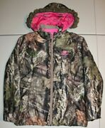 Womens Mossy Oak Fur Lined Hooded Camo Puffy Jacket Large 42-44 Pink Real Tree