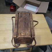 Early Antique Wooden Candle Box Slide Top Aafa Square Nail Leather Strap