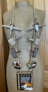 Fabulous Signed Navajo Sterling Silver Inlay Rug Weaver Necklace