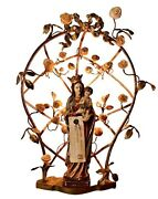 Virgin Mary Madonna Sculpture Lamp And Jesus Carved Wood Lamp - German - 1900s