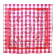 Authentic Hermes Scarf Silk Carre 90 Mors Et Gourmettes Vichy Dj With Box New