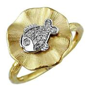 Estate .10ct Diamond 14kt White And Yellow Gold 3d Happy Lucky Fish Fun Ring