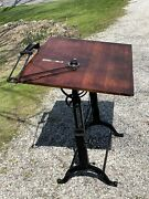 Rare Antique Frederick Post Cast Iron And Oak Drafting Table, Excellent Condition