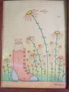 Savitsky Color Pencil Cat In Boot Wall Art Paint Frame 1984 Pa Bug Daisy Flower